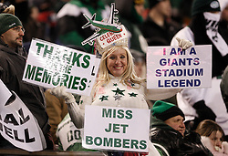 Jan 3, 2010; East Rutherford, NJ, USA; A New York Jets fan says goodbye to Giants Stadium during the second half at Giants Stadium. The Jets clinched a playoff spot with a 37-0 win over the Bengals.