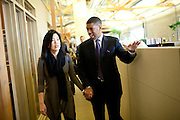Sacramento Mayor Kevin Johnson assists Michelle Rhee and her staff look for a home for StudentsFirst, her new public education advocacy group, in Sacramento, Calif., February 4, 2011.