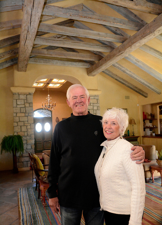 gbs122814g/SPORTS -- Jerry Reichow with his wife Carolyn in their home in Santa Fe on Sunday, December 28, 2014. They built the house 15 years ago and Carolyn, an interior designer, decorated the home.(Greg Sorber/Albuquerque Journal)
