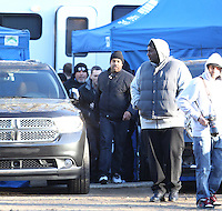 "February 17th 2011  Santa Clarita, CA.  ***EXCLUSIVE*** Eminem films a music video for ""Space Bound"" which is the fourth single off his Recovery Album. Porn Star and crossover actress Sasha Gray also stars in this music video opposite Eminem. Joseph Kahn is the director. The video was shot over 3 long days and mostly nights in the Los Angeles area. The scenes being filmed in these photos were filmed at a road side Diner and Hotel in a rural area outside of LA  where filming took place all night long and well into the next morning. Temperatures dropped below freezing overnight during the filming. Between the long hours and cold temperatures, tensions began to rise as the night became morning. Eminem filmed various performance and acting scenes inside the Diner and in a Hotel room next door. Sasha Gray was in almost ever scene with Eminem. It appears that there is an intense storyline between the two happening in this video. Eminem had a big security team working for him on this shoot and a big effort was being made to not allow any photographs be taken. One resident of the hotel where the filming took place was seen being denied an autograph or photo with Eminem even though he was the only fan to ask. Photo by Eric Ford / On Location News 818-613-3955  info@onlocationnews.com"