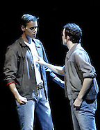 """WSU junior Eric Byrd (left) and sophomore Zach Boone play the parts of Tony and Riff in """"West Side Story"""" at the 2008 Arts Gala at Wright State University, Saturday, April 5, 2008."""