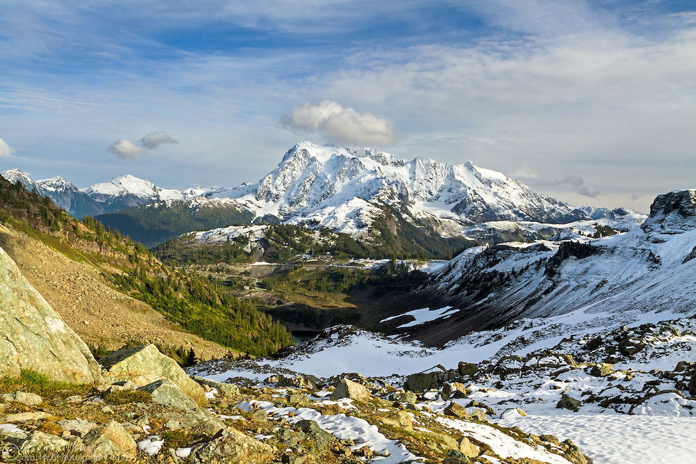View of Mount Shuksan and Ruth Mountain from Herman Saddle in the Mount Baker-Snoqualmie National Forest, Washington State, USA