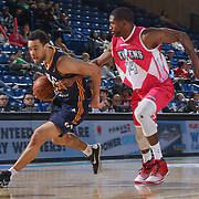 Salt Lake City Stars Forward JJ O'Brien (22) drives past defender Delaware 87ers Guard DERRICK BYARS (14) in the second half of an NBA D-league regular season game between the Delaware 87ers and the Salt Lake City Stars (Utah Jazz) Friday, March 17, 2017 at The Bob Carpenter Sports Convocation Center in Newark, DEL
