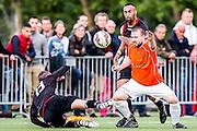 DEN HAAG - HBS - MSC , Sportpark Craeyenhout , Voetbal , Promotie/degradatie topklasse , seizoen 2014/2105 , 28-05-2015 , MSC speler Stefan Bollen (r) in duel met HBS Kevin Schutte (l)
