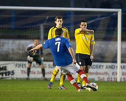 Cowdenbeath's Jamie Stevenson scoring their fourth goal from a free kick..Cowdenbeath 4 v 1 Falkirk, 9/2/2013..©Michael Schofield.