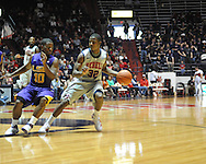 "Ole Miss' Jarvis Summers (32) vs. LSU's Andre Stringer (10) at the C.M. ""Tad"" Smith Coliseum in Oxford, Miss. on Saturday, February 25, 2012. (AP Photo/Oxford Eagle, Bruce Newman)..."