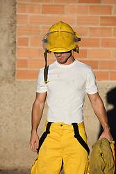 sexy fireman outdoors
