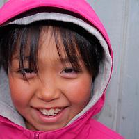 School playground. Coastal Inuit community of Arctic Bay. Lancaster Sound. HIgh Arctic. Baffin Island. &amp;#xA;(people, children, kid, girl, boy, teen, cute, playing, class, break ,<br />