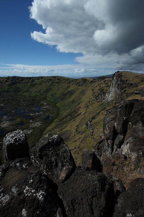 Clouds hang over the rocky cliffs along the crater rim of the Rano Kau volcano, in the south-west of Easter Island, Chile