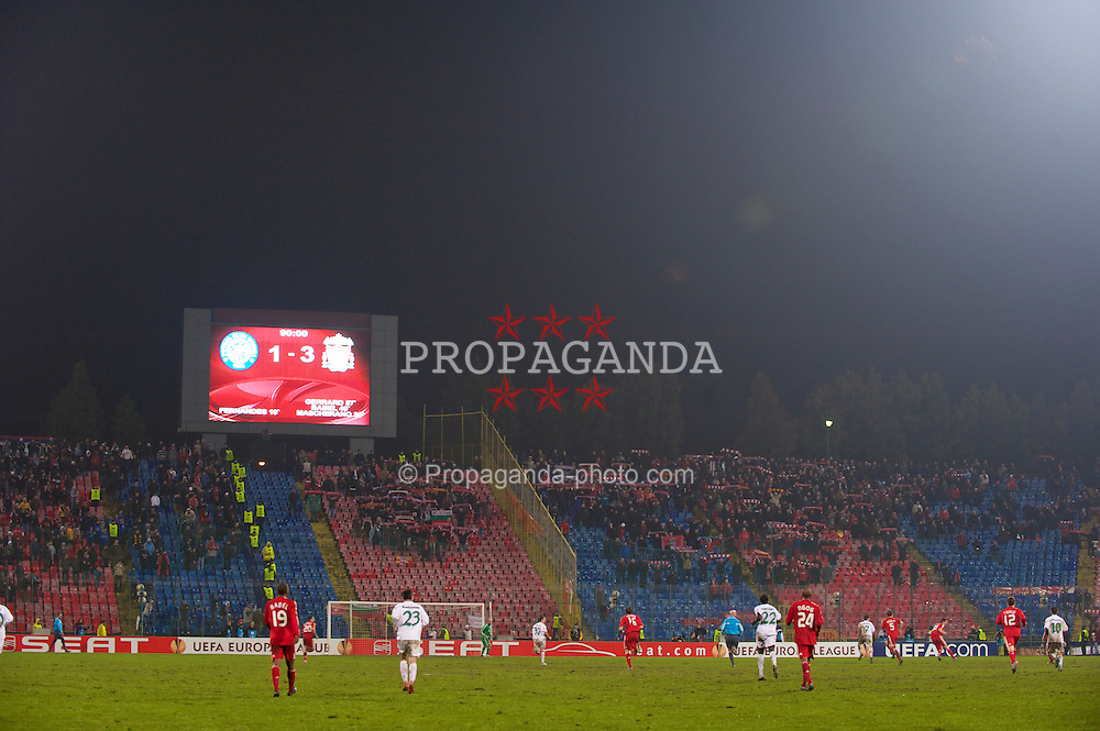 BUCHAREST, ROMANIA - Thursday, February 25, 2010: Liverpool supporters during the UEFA Europa League Round of 32 2nd Leg match against FC Unirea Urziceni at the Steaua Stadium. (Photo by David Rawcliffe/Propaganda)