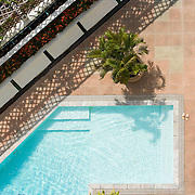 Overhead view of an empty swimming pool