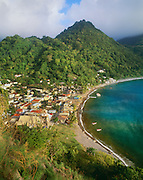 6203-1032~ Copyright:  George H. H. Huey ~ The village of Soufriere [named for nearby sulfur springs], on the southwest coast of the island.  Dominica.  Windward Islands, Lesser Antilles.  Caribbean.
