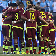 Venezuela players huddle together prior to a Copa America Centenario Group C match between Uruguay and Venezuela Thursday, June. 09, 2016 at Lincoln Financial Field in Philadelphia, PA.