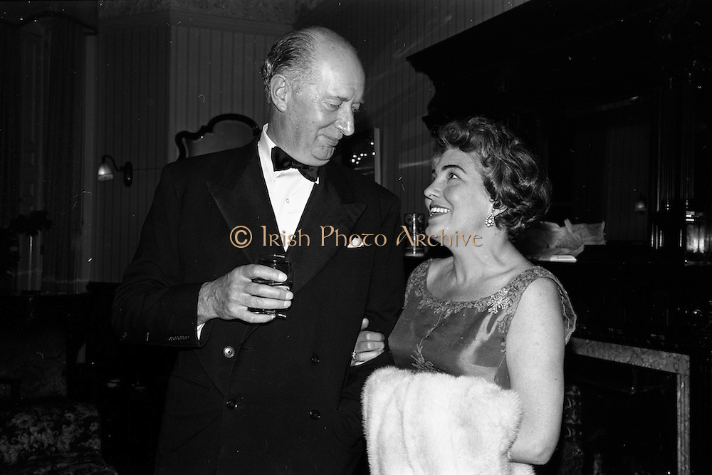 08/05/1964<br /> 05/08/1964<br /> 08 May 1964<br /> Reception and buffet dinner-dance for 5th Annual Tara Cup Rotterdam - Dublin Air Rally given by J.H. Van Anrooy at the Glencormac House Hotel, Co. Wicklow. At the event were (l-r): Lieut.-Col. G.W. Ross, Irish District Organising Secretary of R.N.L.I. and Mrs A.H. Van Anrooy.