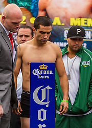 LOS ANGELES, CA - DEC 14: Unbeaten prospect Carlos Molina at the Khan vs Molina official weigh-in at the Los Angeles Sports Arena in Los Angeles, CA 2012/12/14. Byline, credit, TV usage, web usage or linkback must read . Byline and/or web usage link must  read PHOTO: © Eduardo E. Silva/SILVEX.PHOTOSHELTER.COM.