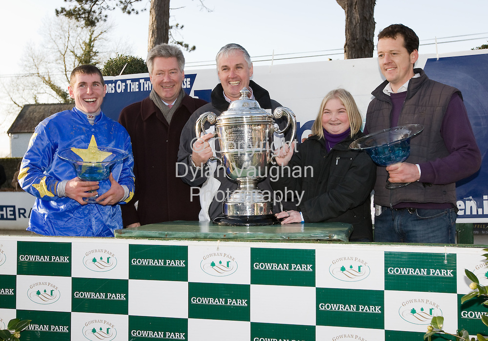 24/1/2008.Over 8,000 fans from across the region attended Thyestes race day at Gowran Park Golf and Race Course..Pictured at the prize presentation for The Ellen Construction Thyestes Handicap Steeplechase  of EUR100,000 was from left Pat Enright (jockey), Joe Connolly, Gowran Park Race Course, John D O' Donohue (owner) Audrey McGrath, Ellen Construction and Thomas O' Leary (Owner/Trainer)..Picture Dylan Vaughan.
