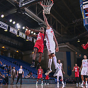 Grand Rapids Drive Guard JORDAN CRAWFORD (15) drives towards the basket as Delaware 87ers Center SHAWN LONG (21) defends in the second half of a NBA D-league regular season basketball game between the Delaware 87ers and the Grand Rapids Drive (Detroit Pistons) Tuesday. Nov. 29, 2016 at The Bob Carpenter Sports Convocation Center in Newark, DEL.