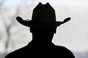 Silhouette of Cowboy with cowboy hat at Warren Ranch at Katy Prairie Conservancy; Katy; Texas