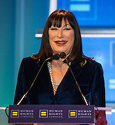 Angelica Huston at the Human Rights Campaign New York City Gala 2013 on February 2, 2013 at the Waldorf Astoria Hotel.