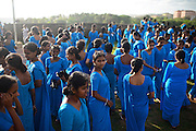 Numerous group of college students dressed in blue visit UNESCO World Heritage, Galle Fort, during Binara Full Moon Poya Day.