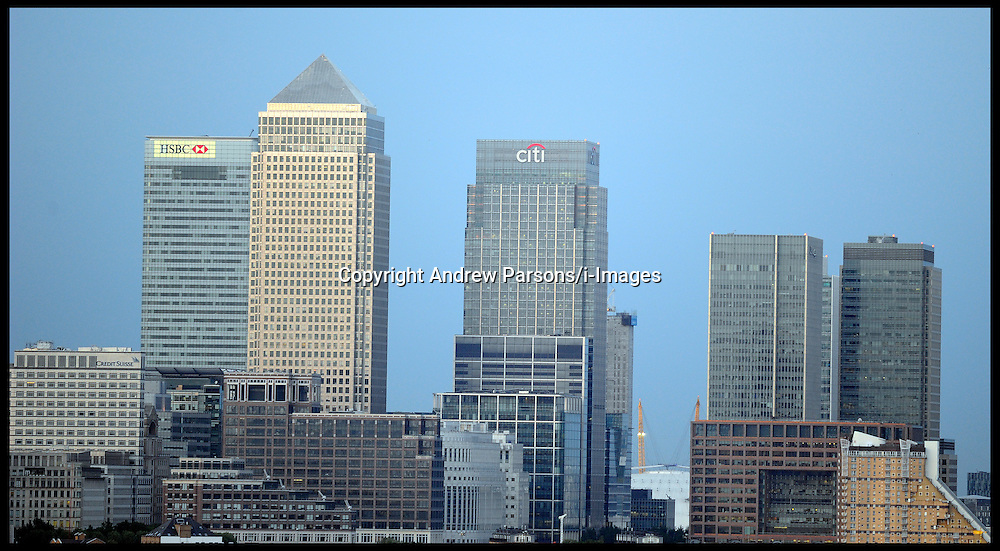 Canary Wharf at sunset in the financial district in East London Wednesday May 30, 2012.  Photo By Andrew Parsons/i-Images.