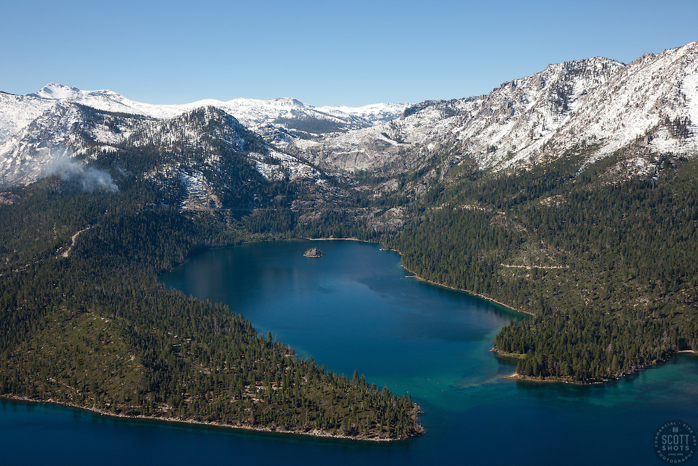 """""""Emerald Bay, Lake Tahoe Aerial 6"""" - Photograph of Emerald Bay in Lake Tahoe, shot from an amphibious seaplane with the door removed."""
