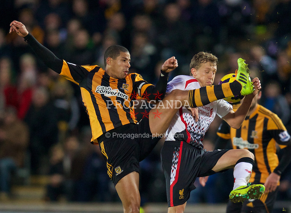 HULL, ENGLAND - Sunday, December 1, 2013: Liverpool's Lucas Leiva in action against Hull City during the Premiership match at the KC Stadium. (Pic by David Rawcliffe/Propaganda)