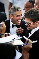 ©Stefano Meluni/Lapresse.27/08/2008 Venezia,Italia.Spettacolo.65 Mostra Internazionale d'Arte Cinematografica.Red Carpet del film 'Burn after reading'.Nella foto: George Clooney, Brad Pitt..©Stefano Meluni/Lapresse.27/08/2008 Venice,Italy.Entertainment.65th Venice Internationl Cinema exhibition. Red carpet of the movie 'Burn after reading'.n the photo:George Clooney, Brad Pitt