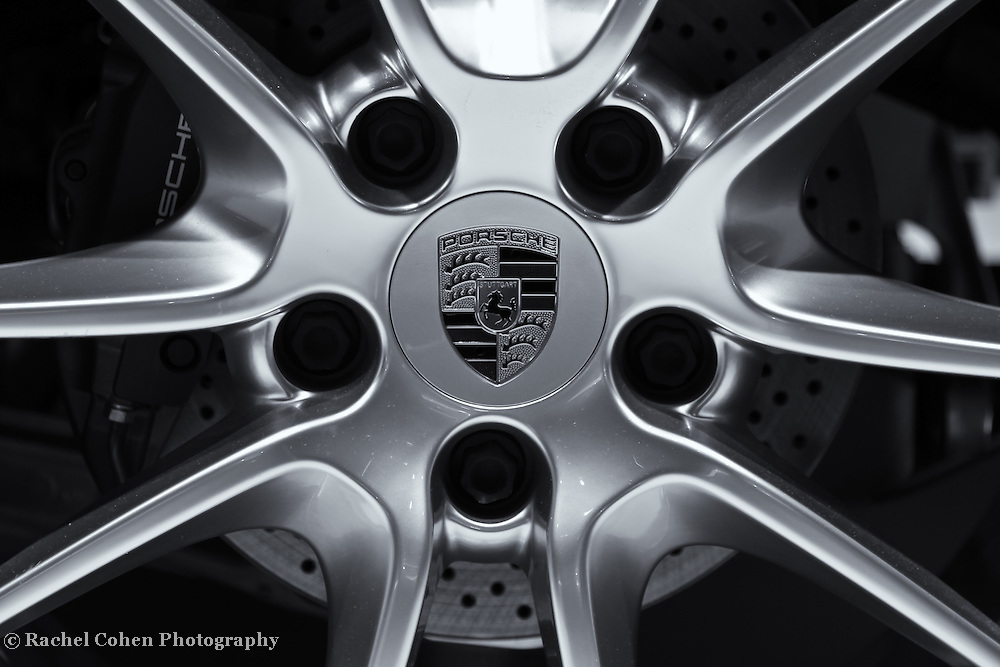 &quot;Porsche Wheel&quot;- B&amp;W<br /> <br /> An awesome black and white image of a Porsche wheel! Beautifully detailed!!<br /> <br /> Cars and their Details by Rachel Cohen