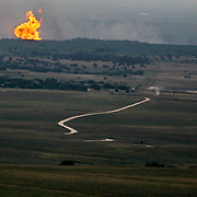 Monday's gas explosion in Johnson County, Texas, was visible from miles away.  Photographed June 7, 2010.   (Courtney Perry/The Dallas Morning News)