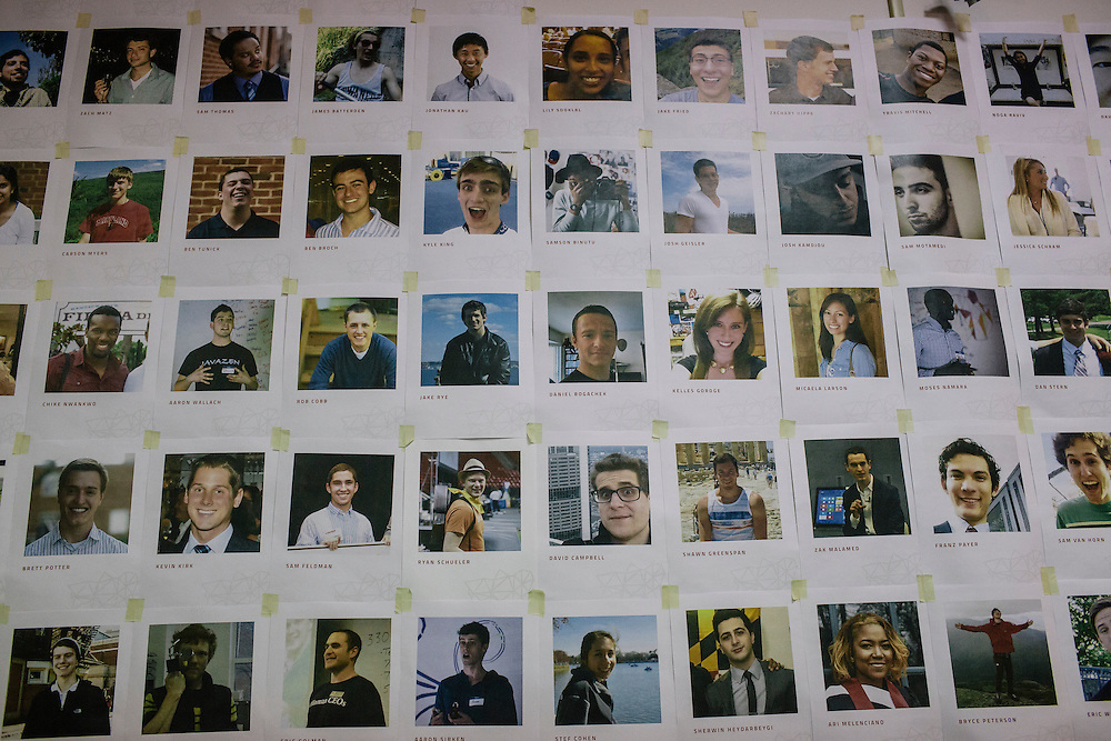 Facebook profile photos of the members of Startup Shell, are posted on the wall of their headquarters on the University of Maryland campus on April 1, 2015. Startup Shell is a not for profit company run entirely by and for students at UMD. Entrepreneurial students from all different disciplines apply to join and if accepted, can work on their innovative project with others collaborating and teaching one another.