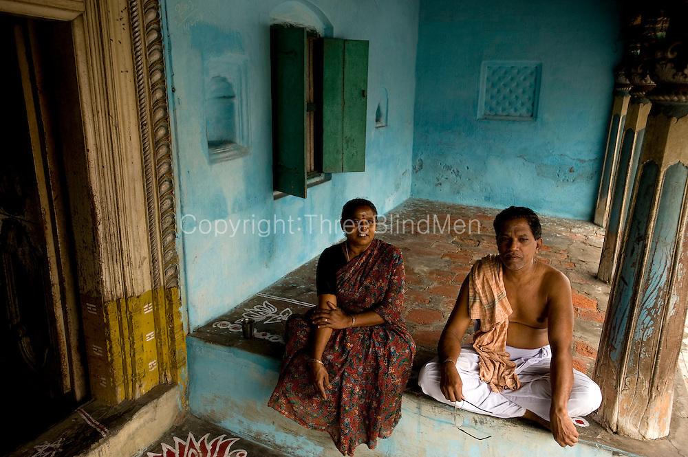 Mr. K. Sethumadhavan with his wife S. Indrani. Door No: 74 Subramanium Baradiya Street. Entrance to a family home in Karaikal. Puducherry.