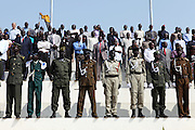 Military officials watch a rehearsal of independence ceremonies at the Garang Masoleum on July 5, just four days before the country will officially come into existence.