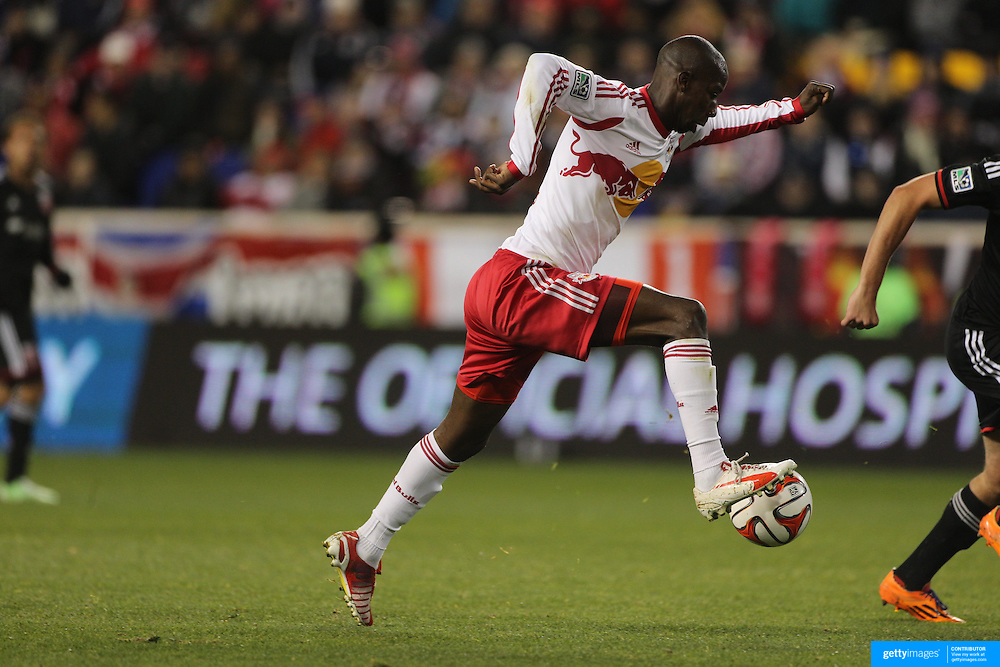 Bradley Wright-Phillips, New York Red Bulls, moves in to shoot during the New York Red Bulls V DC United, MLS Cup Playoffs, Eastern Conference Semifinals first leg at Red Bull Arena, Harrison, New Jersey. USA. 2nd November 2014. Photo Tim Clayton