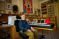 Composer John Kander in his New York home office on the Upper West Side of Manhattan. .. Photo by Robert Caplin