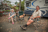 """Centralia ,Washington residents Angie and Earl Neuert with their dog, Summer, at the Calistoga RV Park.  """"We just spent the winter down south...Florida, Alabama, Arkansas...but we liked Texas the best...they had the lowest cost of living.""""  -Earl Neuert"""