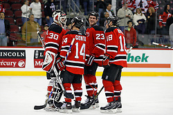 November 28, 2007; Newark, NJ, USA;  The New Jersey Devils celebrate after defeating the Dallas Stars at the Prudential Center in Newark, NJ.  The Devils rallied to beat the Stars 3-2.