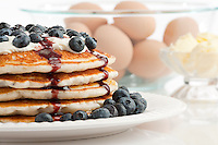 Blueberry pancakes made from freeze dried food storage