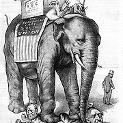 """Political cartoon by Nast. Republican elephant being driven by Uncle Sam stomping out corruption while carrying public school children on his back in a box reading """"The Public Schools, the ABC of the Republic."""" Harper's Weekly, September 2, 1876 The Elephant walks around- and the """"Still Hunt"""" is nearly over."""