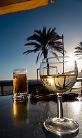 Drinks in the sunset on a pavement restaurant in Sismbra, Portugal