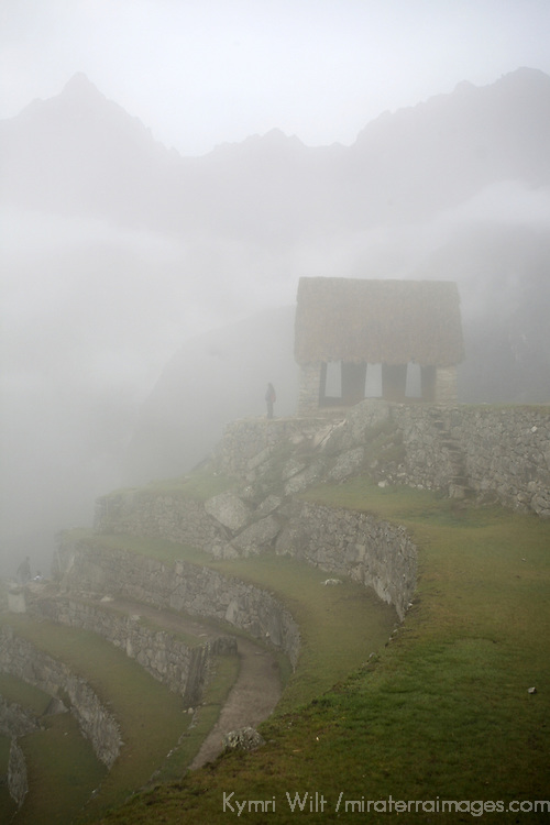 South America, Latin America, Peru, Machu Picchu. The Gatehouse overlooking the citadel.