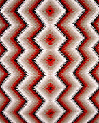"""0108-1038 ~ Copyright: George H. H. Huey ~ Detail of Navajo Indian rug. Eyedazzler style. 30"""" x 39"""". . Hubbell Trading Post National Historic Site, Arizona."""
