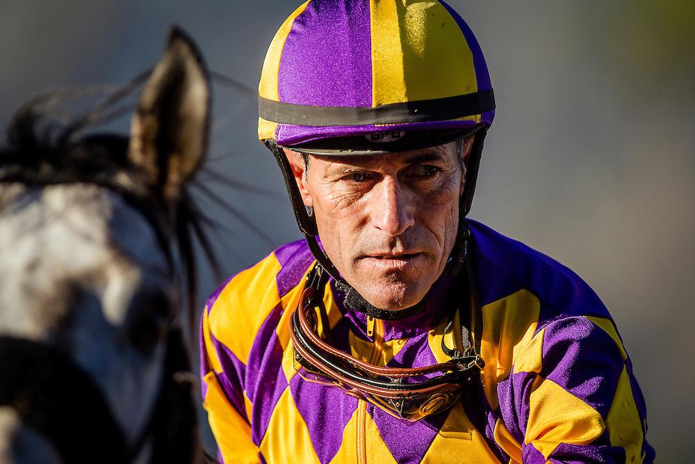March 07 2015: Jockey, Gary Stevens at Santa Anita Park in Arcadia CA. Alex Evers/ESW/CSM`