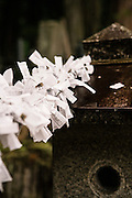 Prayers on paper tied to a shrine.