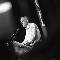 Labour Leadership candidate Jeremy Corbyn delivers a speech during his campaign in Scotland at the Old Fruitmarket in Glasgow on August 14, 2015 in Edinburgh Scotland. Labour leadership candidate Jeremy Corbyn is holding rallies in cities across Scotland.