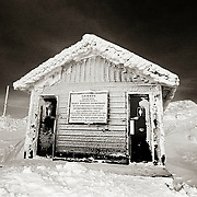 Frozen out house at the peak of Whistler Mountain.  Whistler BC, Canada