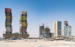 Construction sites at Lusail City new property development in Doha, Qatar