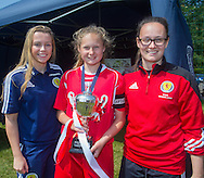 Scotland Youth Internationals Abbi Grant and Carla Jackson present the under 17s East Region League Cup to Farmington captain Rachel Robbie - Forfar Farmington (red) v Jeanfield Girls (black) - Under 17 East Region Girls League Cup Final at University Grounds, Riverside<br /> <br />  - &copy; David Young - www.davidyoungphoto.co.uk - email: davidyoungphoto@gmail.com