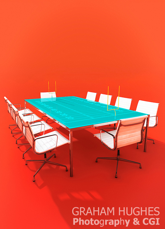 Gamification in corporations. American Football field as boardroom table top.