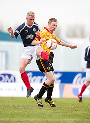 Falkirk's Craig Sibbald and Partick Thistle's Chris Erskine..half time ; Falkirk 0 v 0 Partick Thistle, 20/4/2013..© Michael Schofield.